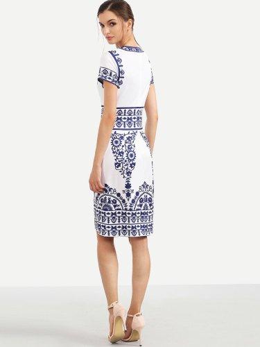 Porcelain Print Pencil Dress WHITE