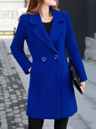 Lapel Longline Plain Pocket Woolen Coat