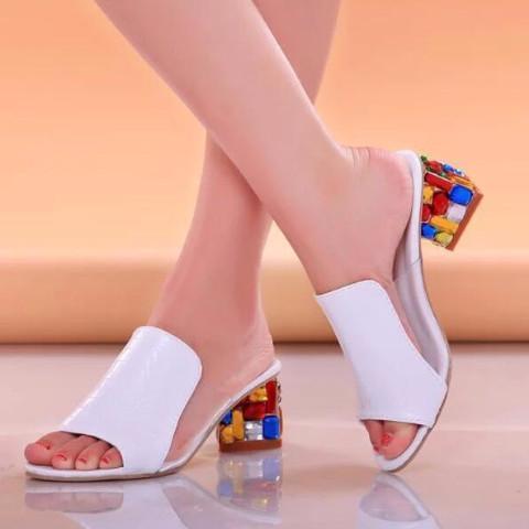 Rhinestone Peep Toe Heels Sandals