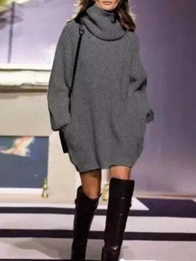 Knitting High-neck Loose Sweater Dress
