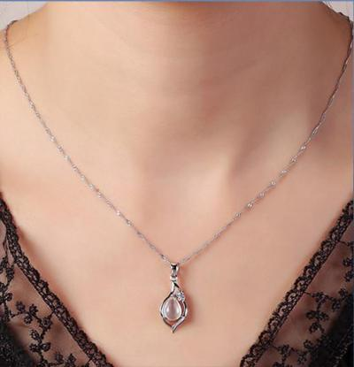 Fashion Opal 100% Pure 925 Sterling Silver Necklace