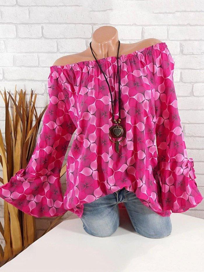 Bell Sleeve Printed Off Shoulder Blouses &