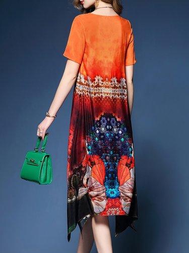 Holiday Short Sleeve Floral Slit Midi Dress