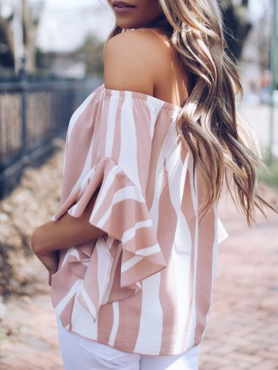 Pink Frill Sleeve Printed Blouses &