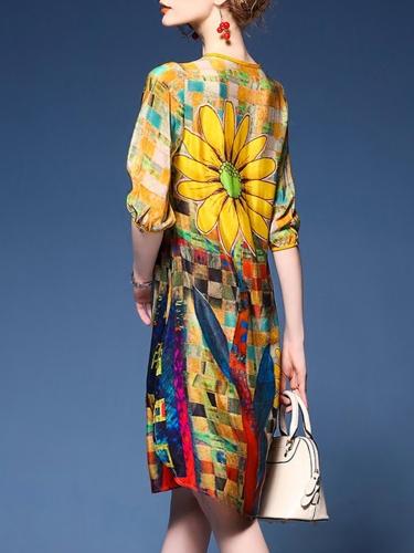 A-line Half Sleeve Floral Binding Casual Dress