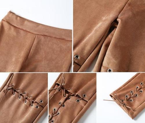 Suede Bodycon High Waist Pants Capris  Lace Up Pants