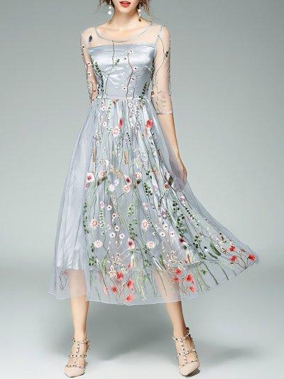 Floral Cocktail 3/4 Sleeve Midi Dress
