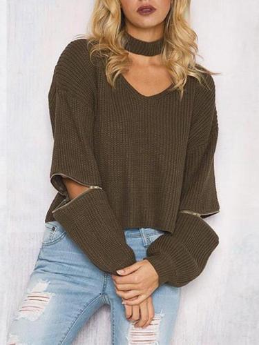 V Neck Plain Zipper Choker Sweater