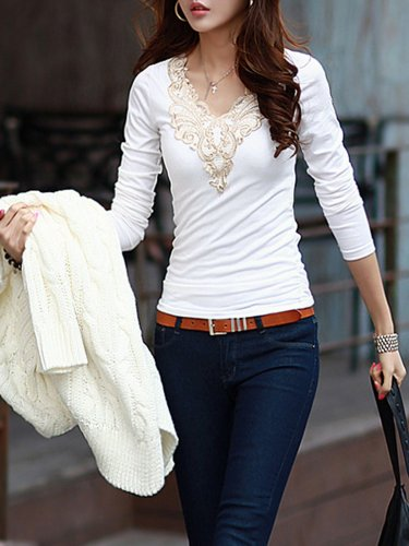 V Neck Long Sleeve Paneled Casual Blouse