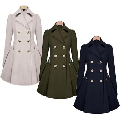 Fashion Pure Color Lapel Double Breasted Outwear