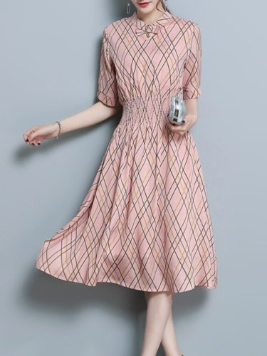 Crew Neck  Elastic Waist  Print Maxi Woman Dress