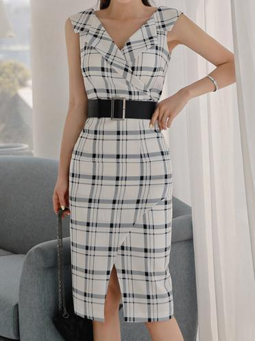 Summer Surplice  Plaid Bodycon Dresses