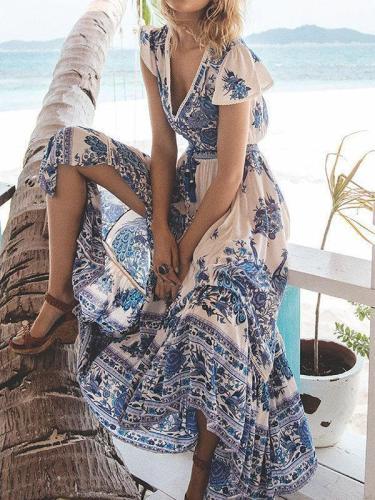 V neck Swing Asymmetric Floral Boho Maxi Dress