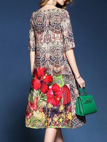 Shift Casual Floral Plus Size Dress