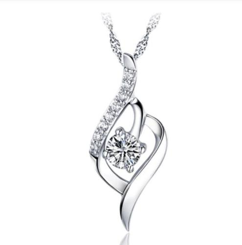 Fashion Crystal 100% Pure 925 Sterling Silver Necklace