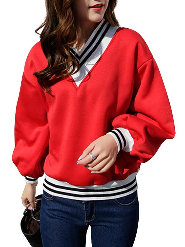 Autumn Spring  Cotton Blend  Plain Striped  Long Sleeve Sweatshirts