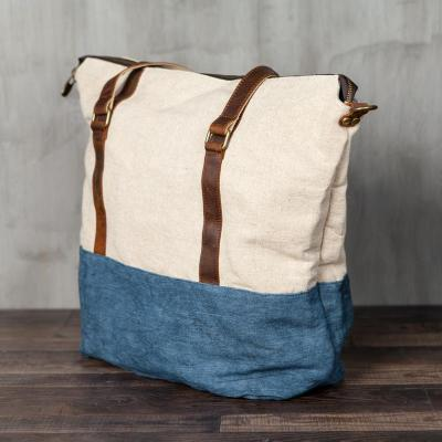 Canvas Large Capacity Splicing Shoulder Bag