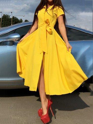 Woman Turn Down Collar  Belt  Plain Maxi Dress