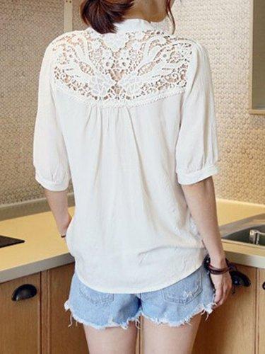 Stand Collar Lace Paneled Short Sleeve Chiffon T-Shirt