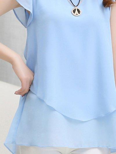Chiffon  Women  Round Neck  Asymmetric Hem Flounce  Plain  Short Sleeve Blouses
