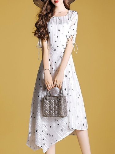Round Neck  Asymmetric Hem  Star Dress