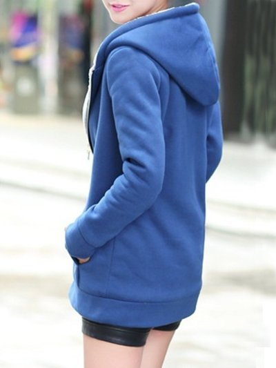 Patch Pocket Snap Front Decorative Button Hoodie