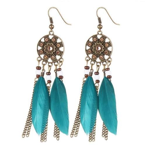 Dream Catcher Long Feather Drop Earrings Tassel Bead Tibetan Earrings For Woman