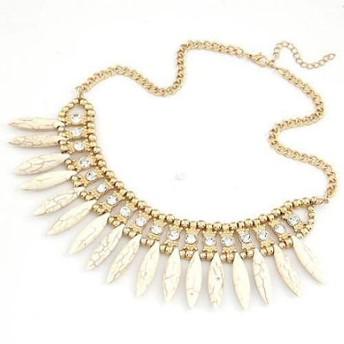 Crystal Pendant Chain Choker Chunky Statement Bib Woman Necklace