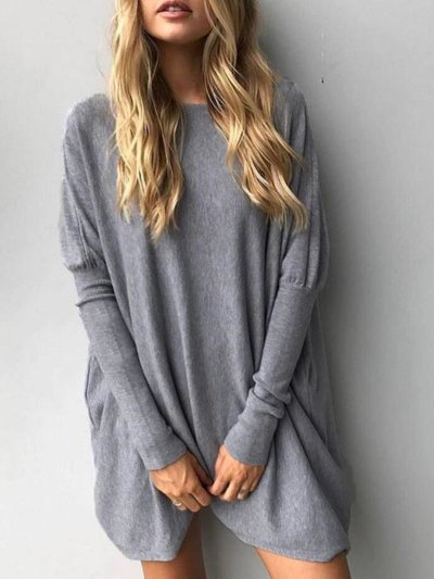 Casual H-line Batwing Knitted Shirt