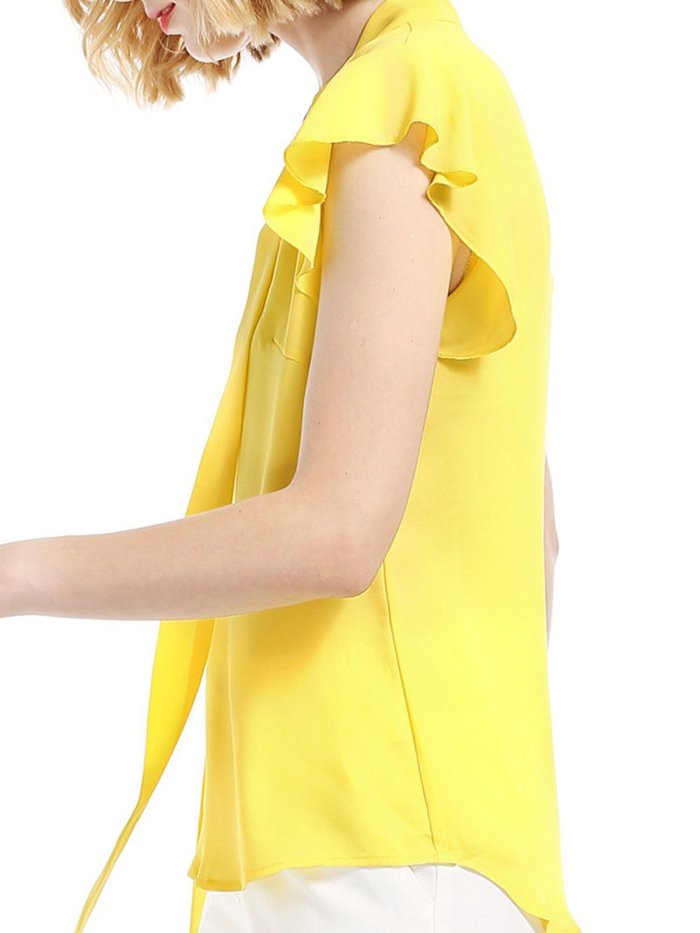 Yellow Solid Chiffon Frill Sleeve V-Neck Blouses &