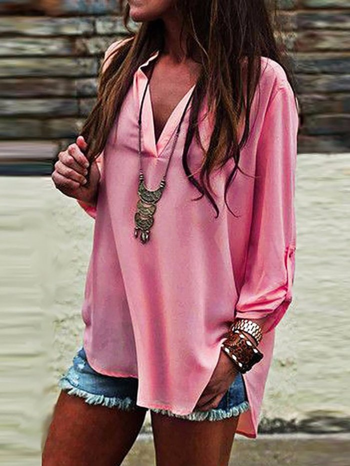 Fuchsia Polyester Solid Casual Blouses