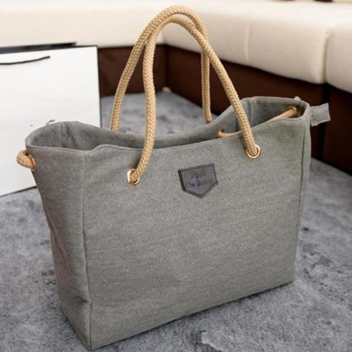 Woman Big Canvas Tote Sling Bags Over Shoulder