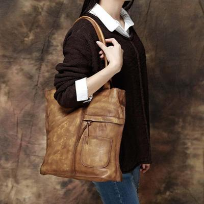 Retro Brushed Off Genuine Cow Leather Handbags Simple Style