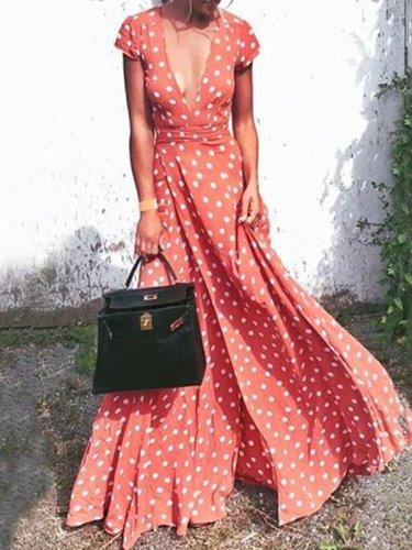 Deep V Neck  Belt  Print  Short Sleeve Maxi Dresses