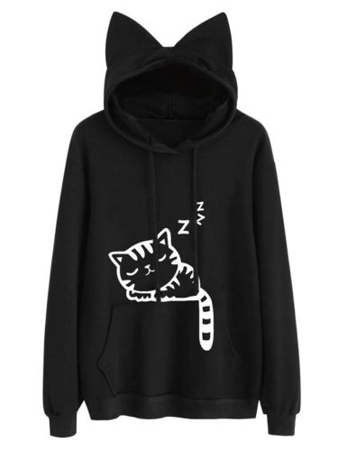 Cute Cat Printed Kangaroo Pocket Hoodie