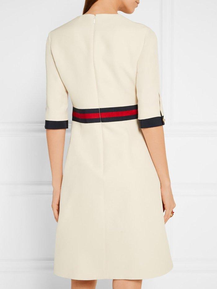 Solid Paneled Elegant Crew Neck Mini Dress