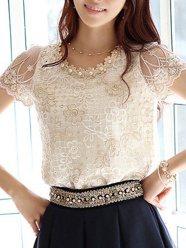 New Lace  Women  Round Neck  Decorative Lace  Lace  Short Sleeve Blouses