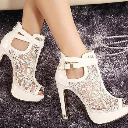 Platform Pumps Sandals Mesh High Heels Peep Toe