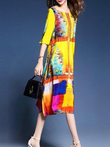 Fashion Colorful Round Neck Side Slit Printed Maxi Dress