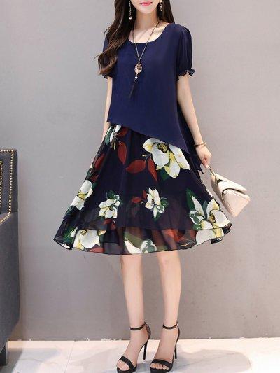 Paneled Crew Neck Chiffon Short Sleeve Floral Casual Plus Size Dress