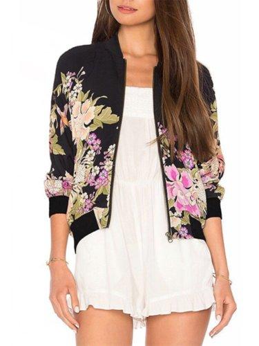Band Collar  Floral Printed Jacket