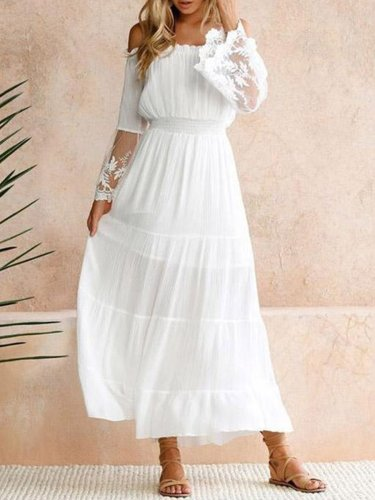 Nes Collarless  Plain Maxi Dresses