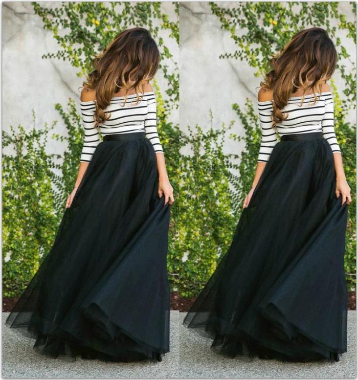 Fashion Cutaway Collar Striped Evening Dress