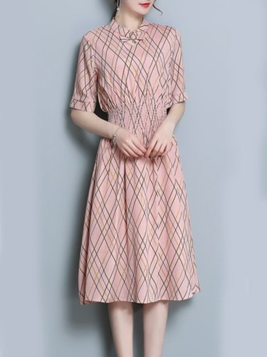 Crew Neck  Elastic Waist  Print Maxi Woman Dress