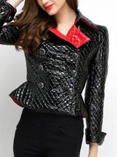 Fold-Over Collar  Double Breasted Flounce  Plain Jackets