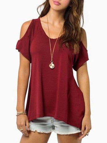 Summer  Polyester  Women  Open Shoulder  Asymmetric Hem  Plain Short Sleeve T-Shirts