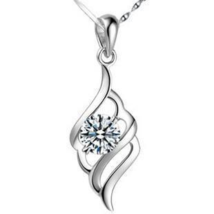 Sterling Silver Crystal Necklace 100% Pure 925 Silver