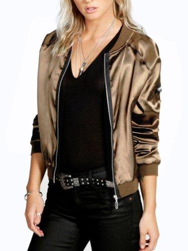 Band Collar  Zips  Plain Bomber Jacket