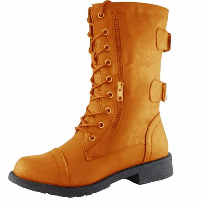 Round Toe Chain Casual PU Spring/Fall Boots