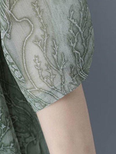 Floral Printed Crew Neck Half Sleeve Satin Dress